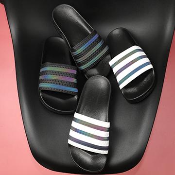 Dép Adidas Nữ quai 3 sọc phản quang
